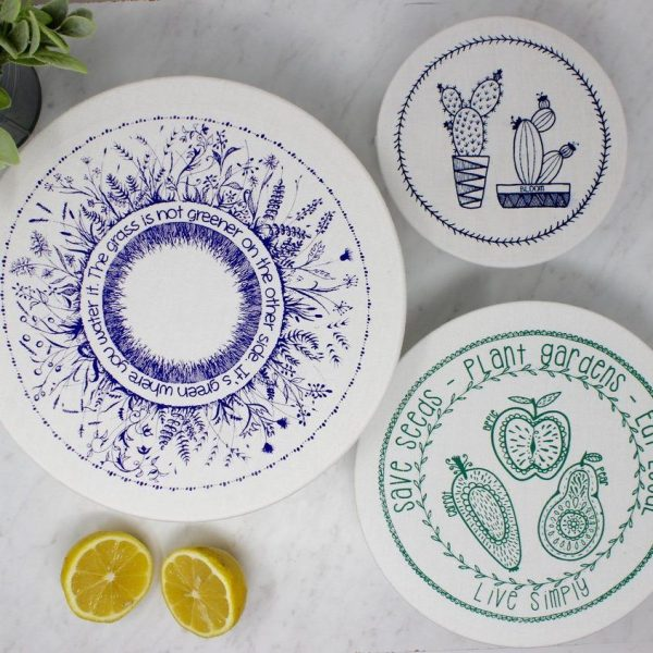 your green kitchen fabric bowl covers jarful refillery